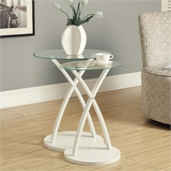 2 Piece Glass Top Nesting Table Set in White