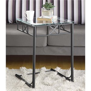Square Glass Top Metal Side Table in Black