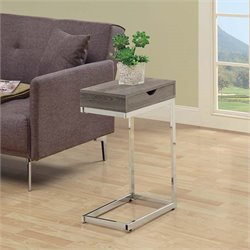 Drawer Side Table in Dark Taupe and Chrome