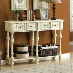Monarch Traditional Console Table in Antique White