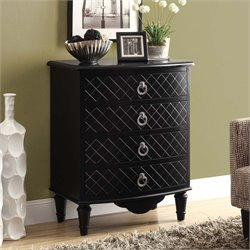 Monarch 4 Drawer Contemporary Diamond Accent Chest in Black