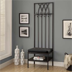 Metal Hall Tree Entry Bench in Black
