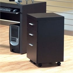 3 Drawer Mobile File Cabinet in Cappuccino