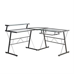 Glass Top Metal L Shaped Computer Desk in Black