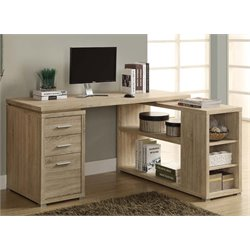 Monarch Adjustable Corner Computer Desk in Natural