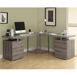 Monarch L Shaped Computer Desk in Dark Taupe