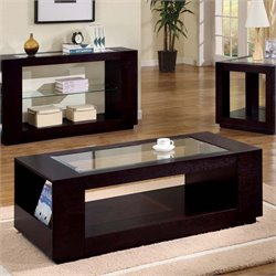 Monarch Glass Top Coffee Table in Cappuccino
