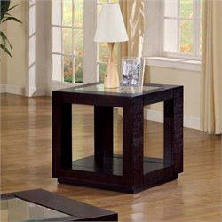 Monarch Square Glass Top End Table in Cappuccino