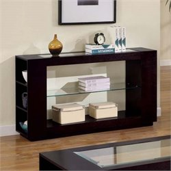 Monarch Glass Top Console Table in Cappuccino