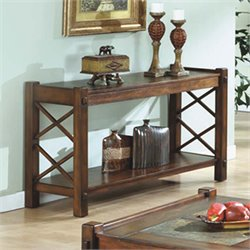 Monarch Slate Top Console Table in Dark Brown