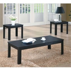 Monarch 3 Piece Coffee Table Set in Black