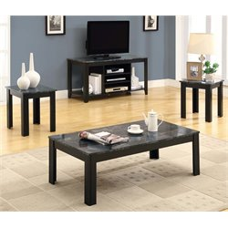 Monarch 3 Piece Faux Marble Top Coffee Table Set in Black and Gray
