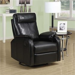 Leather Swivel Rocker Recliner in Black