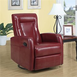 Leather Swivel Rocker Recliner in Red