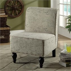 Monarch Traditional Fabric Accent Chair in Vintage French Print