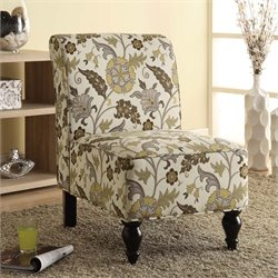 Monarch Traditional Fabric Accent Chair in Brown Gold Floral