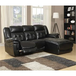 Monarch Right Facing Leather Reclining Sectional in Black