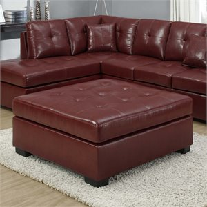 Square Leather Ottoman in Red