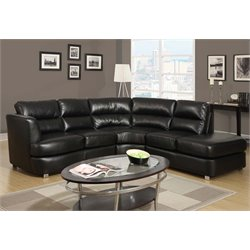 Monarch Right Facing Leather Sectional in Black