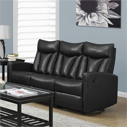 Monarch Leather Reclining Sofa in Black