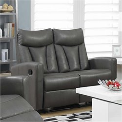 Monarch Leather Reclining Loveseat in Charcoal Gray