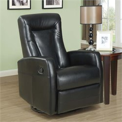 Monarch Leather Swivel Rocker Recliner in Black