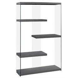 Monarch 4 Shelf Bookcase in Gray Wood