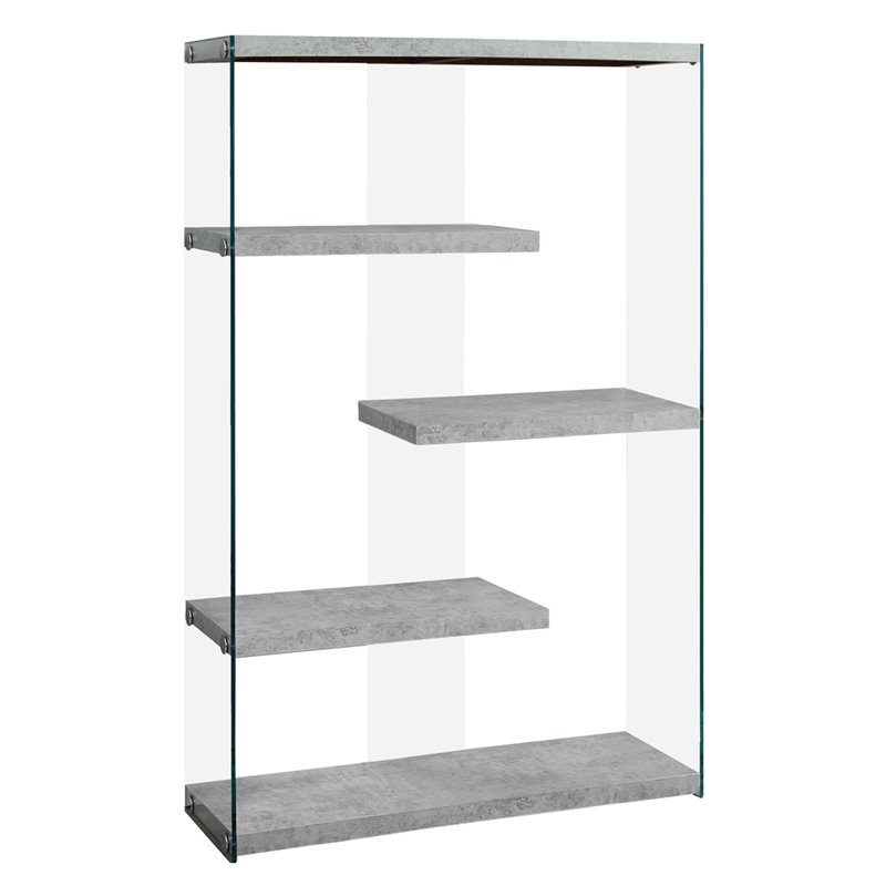 Monarch 4 Shelf Zig-Zag Bookcase In Gray Cement