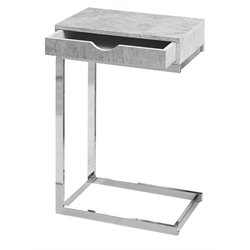 Monarch Accent End Table With Drawer in Gray Cement