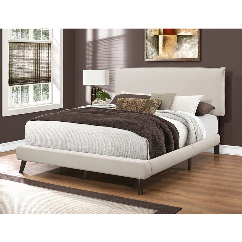 Monarch Upholstered Queen Panel Bed in Beige and Brown