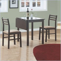 3 Piece Solid-Top Drop Leaf Dining Set in Cappuccino