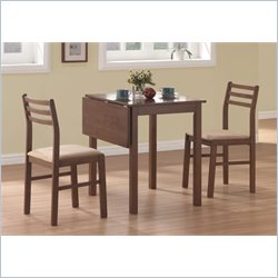 Monarch 3 Piece Solid-Top Drop Leaf Dining Set in Walnut