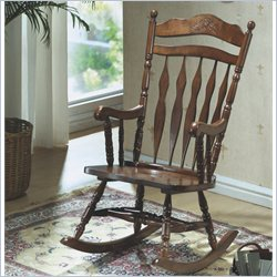 Monarch Embossed Back Rocking Chair in Dark Walnut