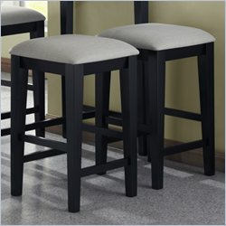 Monarch Grey Upholstered Seat Barstool in Black Grain (Set of 2)