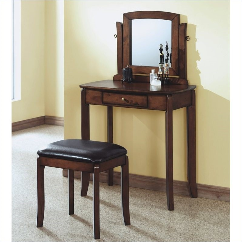 Monarch Solid Top Vanity in Walnut and Brown Faux Leather Stool Set