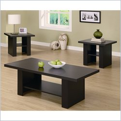 Monarch Hollow-Core 3 Piece Coffee and End Table Set in Cappuccino