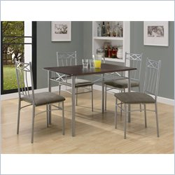 5 Piece Dining Set in Cappuccino and Silver