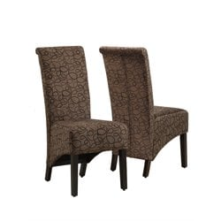 Fabric Parson Dining Chair in Brown Swirl (Set of 2)