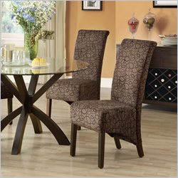 Monarch Fabric Parson Dining Chair in Brown Swirl (Set of 2)