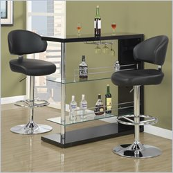 Monarch Faux Leather Bar Stool in Black and Chrome