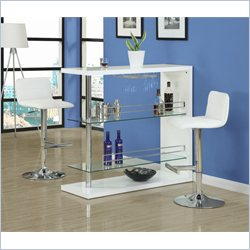 Monarch Hydraulic Lift Bar Stool in White and Chrome (Set of 2)