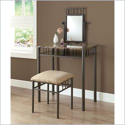 Monarch 2 Piece Metal Vanity Set in Cappuccino Marble and Bronze