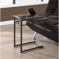 Monarch Metal Snack Table in Cappuccino Marble and Bronze