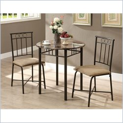 Monarch 3 Piece Metal Bistro Set in Cappuccino Marble and Bronze