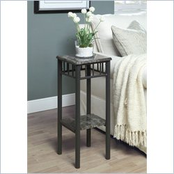 Monarch Metal Plant Stand in Grey Marble and Charcoal