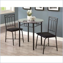 Monarch 3 Piece Metal Bistro Set in Grey Marble and Charcoal