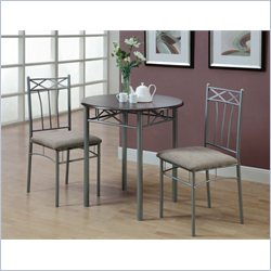 Metal 3 Piece Bistro Set in Cappuccino and Silver