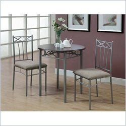Monarch Metal 3 Piece Bistro Set in Cappuccino and Silver