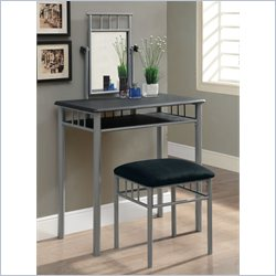 Monarch 2 Piece Vanity Set in Black and Silver