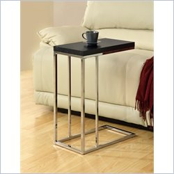 Monarch Metal Hollow-Core Accent Table in Chrome and Cappuccino